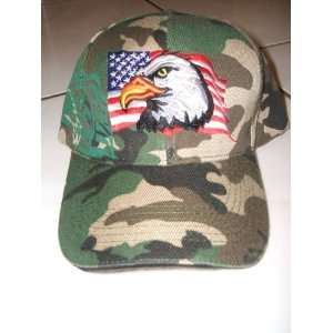 Outdoor Camo Eagle American Flag Velcro Hat Cap Adj