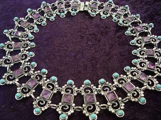 MEXICAN STERLING SILVER AMETHYST TURQUOISE NECKLACE MEXICO