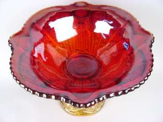 INDIANA SUNSET CONTEMPORARY CARNIVAL GLASS PUNCH BOWL & BASE