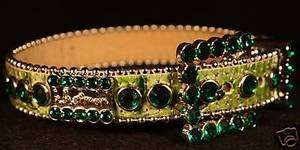 bb simon Swarovski Crystal Large Green Croc Dog Collar