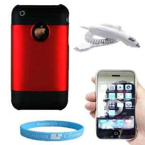 Red Durable Carrying Case for Iphone 3G + Car Charger
