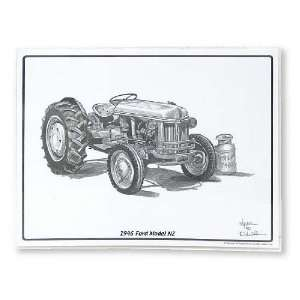 Pencil Drawing Of A 1946 Ford Model Nz Tractor MAT1946 Toys & Games