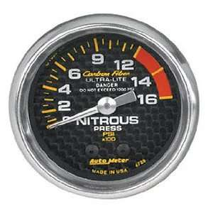 4828 Carbon Fiber 2 5/8 0 2000 PSI Mechanical Nitrous Pressure Gauge