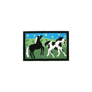 Black and White Paint Horses Indoor/Outdoor Rug