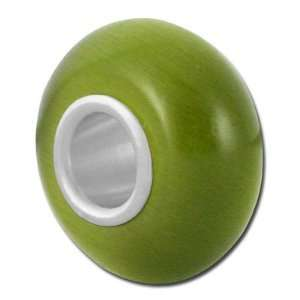 13mm Olive Green Cats Eye Beads   Large Hole Jewelry