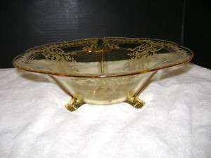 FOSTORIA JUNE ETCHED TOPAZ YELLOW CONSOLE BOWL, #2394