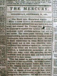 1864 Confederate Civil War newspaper BATTLE o WINCHESTER Virginia