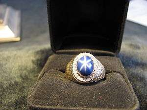 MANS MENS   14K Solid Gold   STAR SAPPHIRE & DIAMOND Ring **