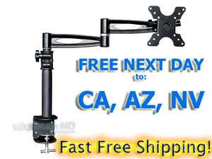 TILTING LCD LED TV MONITOR DESK MOUNT DESK CLAMP 3 WAY ADJUSTABLE