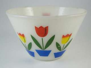 Vintage Anchor Hocking Fire King Tulip Decorated Mixing Bowl Dish