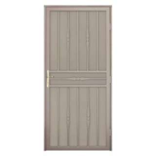 Door with Perforated Metal Screen & Brass Hardware SDR060036R1082 at