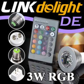 16 Farbwechsel E27/GU10/E14/MR16 3W RGB LED Spot Licht Light Lampe