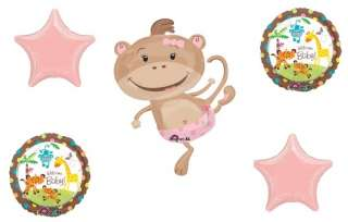 GIRL MONKEY Baby SHOWER Fisher Price PARTY Balloons SET