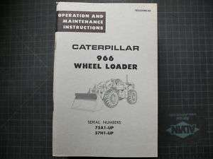 CAT Caterpillar 966 Wheel Loader Operation Operator Maintenance Guide
