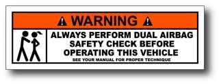 Dual Airbag Funny Warning Decal Window Sticker Graphics Car Truck 4x4