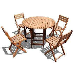 Sabine 5 piece Round Outdoor Folding Table and Chair Set