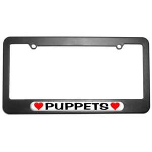 Puppets Love with Hearts License Plate Tag Frame