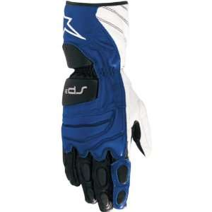 Leather Street Racing Motorcycle Gloves   Blue / 3X Large Automotive