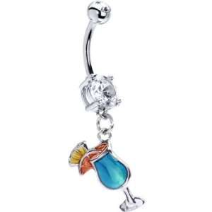 Blue Tropical Drink Belly Ring Jewelry