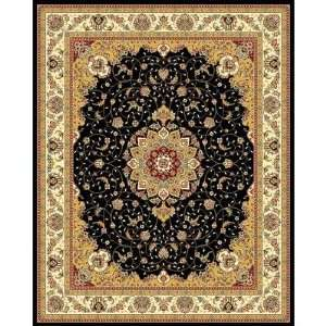 Black and Ivory Area Rug, 5 Feet 3 Inch by 7 Feet 6 Inch Home
