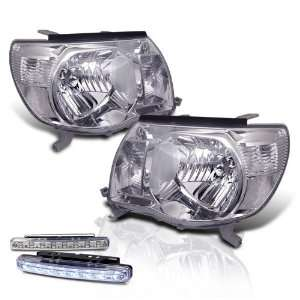Tacoma Crystal Chrome Head Lights + LED Bumper Fog Lamps Pair Set New