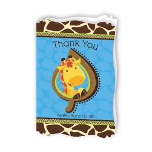 Giraffe Boy   Personalized Baby Thank You Cards With