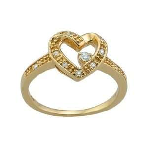 14K Yellow Gold Diamond Heart Ring 0.14Ctw Jewelry