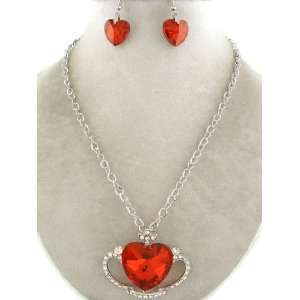 com Fashion Jewelry ~ Red Crystal Heart Pendant Neckace and Earrings