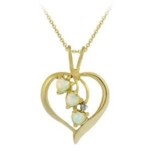 18k Yellow Gold Plated Sterling Silver Diamond Accent Heart Pendant