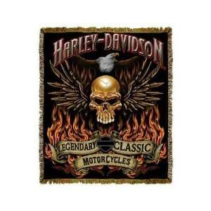 Harley Davidson Motorcycles Wings of Fire Throw Blanket