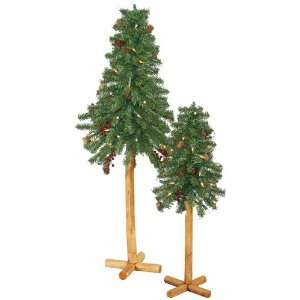 24/36 Pre Lit Alpine Christmas Tree 2 Piece Set with Berries   Clear