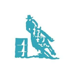 Horse Barrel Racer medium 7 Tall TEAL vinyl window decal