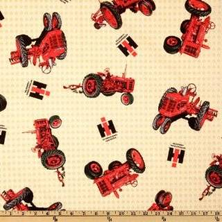 44 Wide Farmall International Harvester Logo Red Fabric