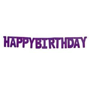 Purple Happy Birthday Jointed Banner   Party Decorations