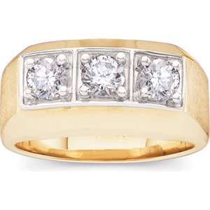 1 CT TW 14K Yellow Gold Gents Diamond Ring Jewelry