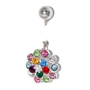 14G Non Dangle Navel Belly Ring   Swarovski Multi Colored