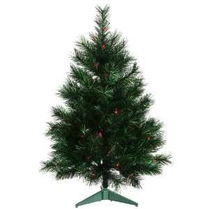 3 Pre Lit Midnight Green Artificial Christmas Tree   Red