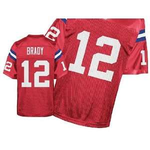 New England Patriots NFL Jerseys #12 Tom Brady Retro Red Authentic