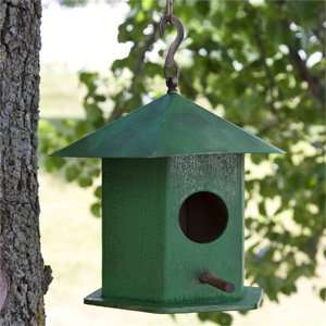 Pico Hanging Bird House with Copper Roof   Green Patio, Lawn & Garden