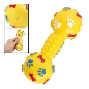 Yellow Dumbbell Shaped Squeaky Playing Toy for Pet Dog