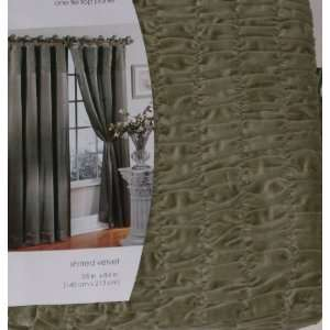 Casual Home Shirred Velvet Window Panel Green 84 Tie Top Curtain