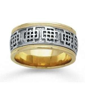 14k Two Tone Gold Grand Milgrain Hand Carved Wedding Band Jewelry