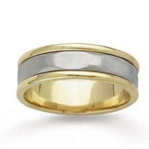 14k Two Tone Gold Plain Style Hand Carved Wedding Band Jewelry