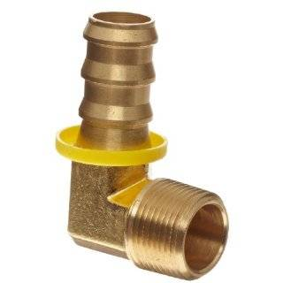 Metals Brass Hose Fitting, 90 Degree Elbow, 3/8 Barb x 1/2 Male Pipe