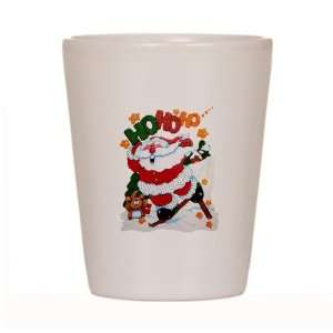 Shot Glass White of Merry Christmas Santa Claus Skiing Ho