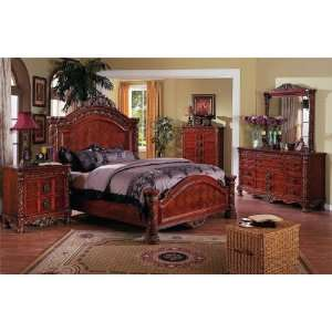 New 5 pc cherry wood finish wood queen size bed set