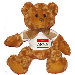 HELLO my name is ANNA Plush Teddy Bear with WHITE T Shirt