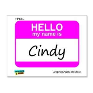 Hello My Name Is Cindy   Window Bumper Laptop Sticker