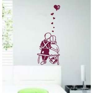 Couple in Love Decal Sticker Wall Art Bench Park Married