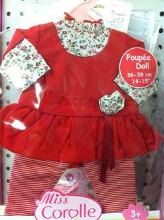 Miss Corolle Baby Doll Clothing Outfit Accessories Red Ruffled Dress